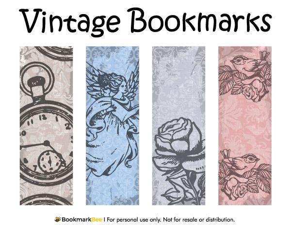 Free printable vintage bookmarks. Download the PDF template at http://bookmarkbee.com/bookmark/vintage/