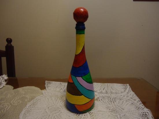 Botella pintada a mano vitreaux botella de vidrio - Pintura acrilica manualidades ...