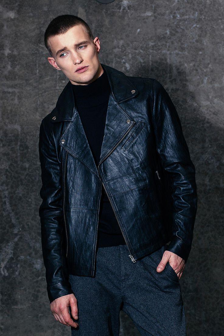 Autonomy / Mens Leather Jacket / Turtleneck jumper / Smart Jogger pants / Melbourne fashion / Menswear Winter 15