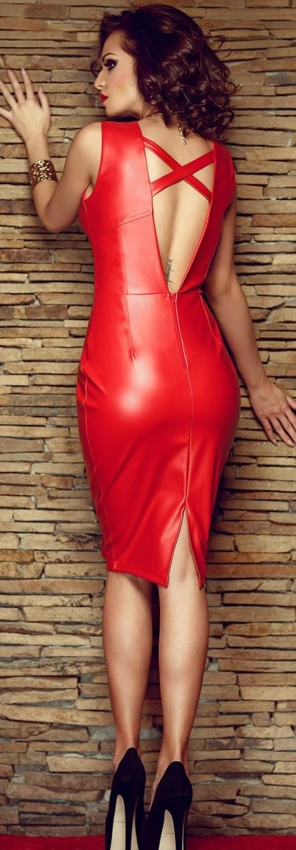 red faux? leather cut out back dress .#UNIQUE_WOMENS_FASHION