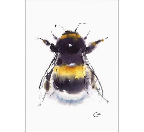 Bumblebee  Original Watercolor Insect Painting 5 x 7 inches