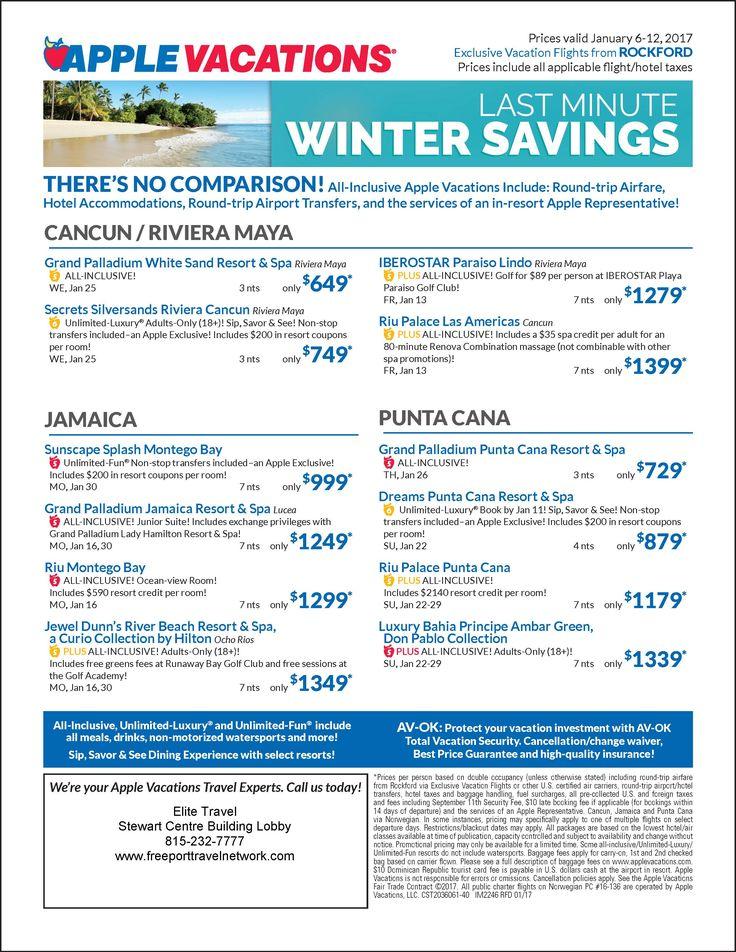 Get Away To Punta Cana Or Jamaica Valid Thru Jan 12