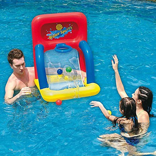 Felices Pascuas Collection 34 inch Red Yellow and Blue Inflatable Swimming Pool Water Sports Basketball Shooting Game