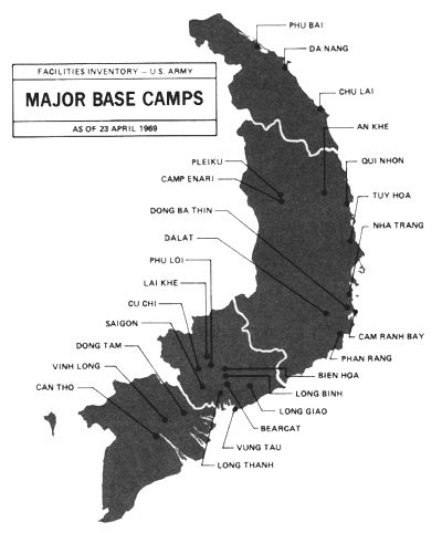 Major Base Camps as of 23 April 1969. I patrolled in I-Corp and II-Corp from Qui Nhon north to the Cau Viet River on the 17th parallel. Our base was at Da Nang. We worked along the surf line and in the major rivers. USCG Squadron One, Division Twelve. USCGC WPB 82319 Point Orient and 82328 Point Gammon. I left Viet Nam the end of April of '69 to Yokosuka Naval Hospital and then to CONUS.