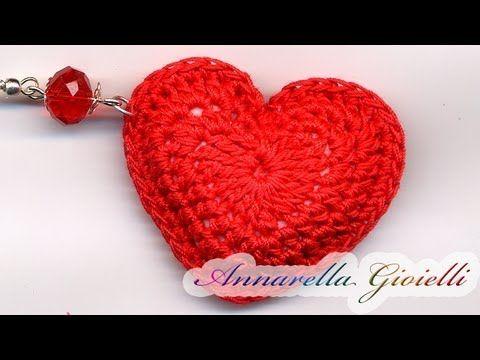 Tutorial - Orecchini Cuore 3D all'uncinetto. ( 3D heart crochet) - YouTube