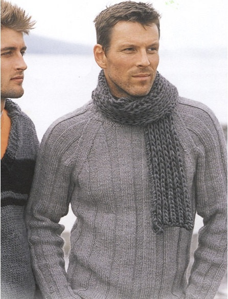 Men's Winter Wool Scarf in Dark Charcoal Gray Hand Knit by knitix, $46.99