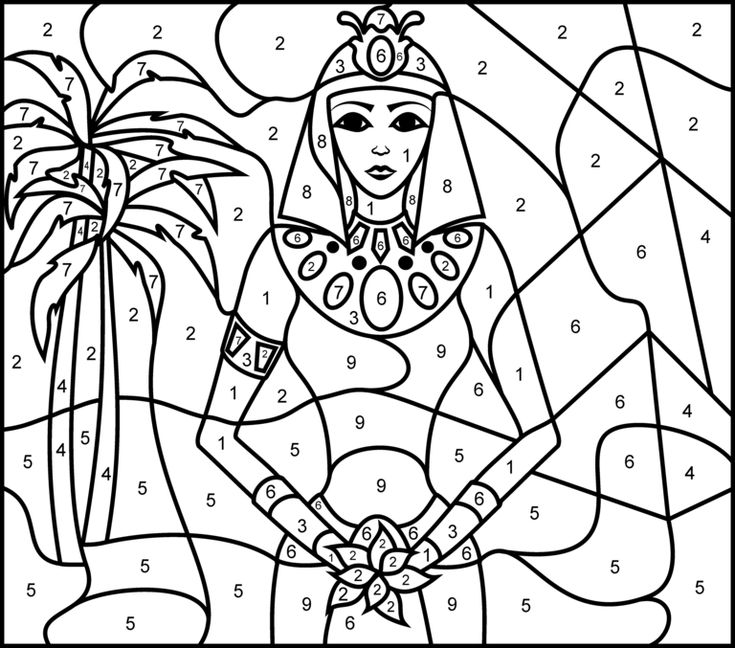 Princess of Egypt - Printable Color by Number Page - Hard