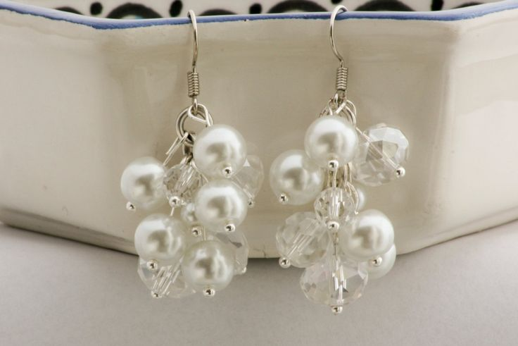 Handmade white and crystal cluster earrings by Fedaro.