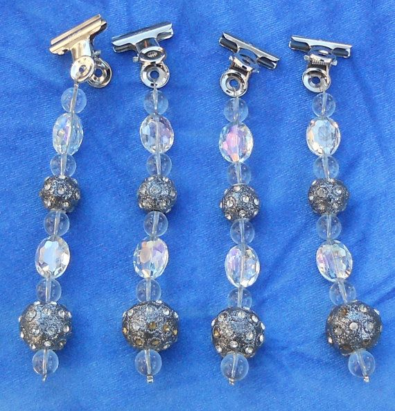 Sparkly Beaded Table cloth Weights Set of 4 by SunMoonJewels, $15.00