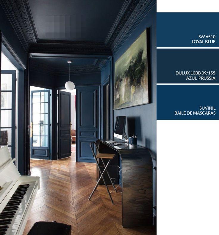Ideias de cores de tintas para pintar as paredes de sua Casa, Tinta azul escuro, Sala de estar e home office azul marinho, Get The Color Natalia Billa Art Studio