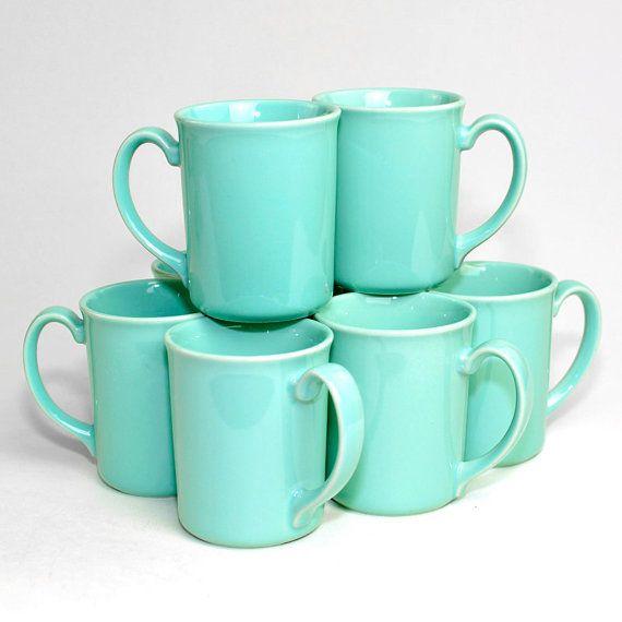 Corning Aqua Coffee Cups 8 Gorgeous Microwavable