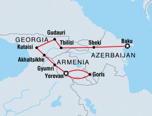 The Caucasus region of Central Asia holds a wealth of unexplored territories. Wedged between two seas, surrounded by Europe's largest mountain range and straddling two continents, Azerbaijan, Georgia and Armenia are home to some extraordinarily beautiful scenery and incredibly hospitable people.