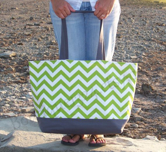 EXtra LARGE Tote Bag  Chevron Chartruese Green & by Boutique1324, $54.00