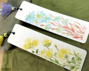 Fiori in estate giardino 6 # disegno originale segnalibri, acquerello, fatto a mano doppia nappa, pacchetto di 2, artista Kai Liu
