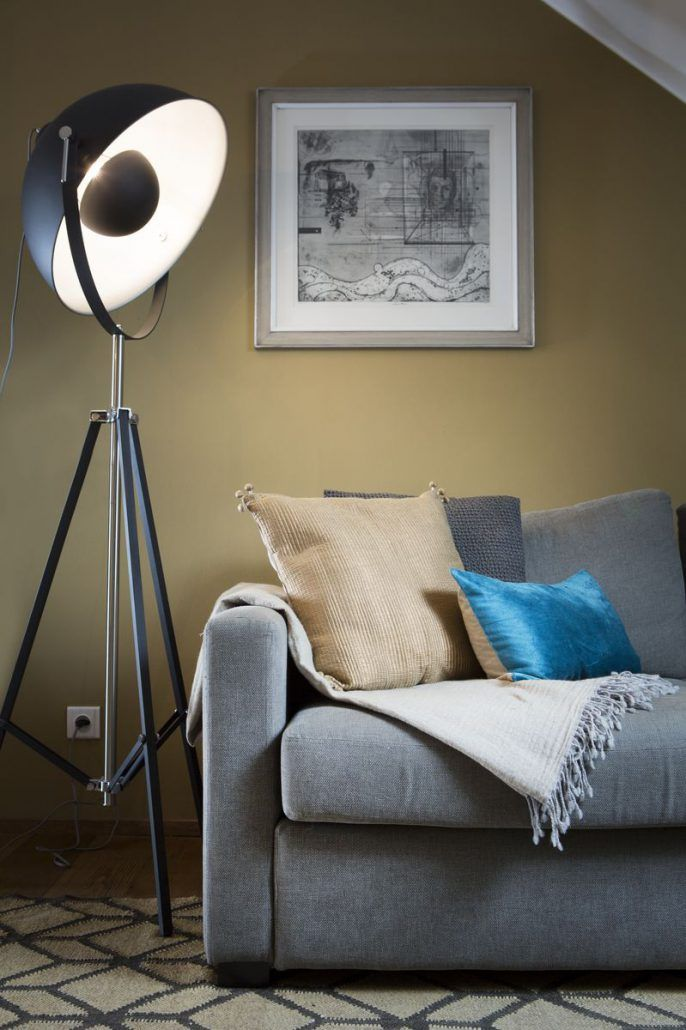 It's about RoMi Hollywood standing lamp, handmade pattern carpet and Vivaraise blue and cream pillows. #livingroom #interior #design #homedecor #handmade #standinglamp #industrial #french #vivaraise