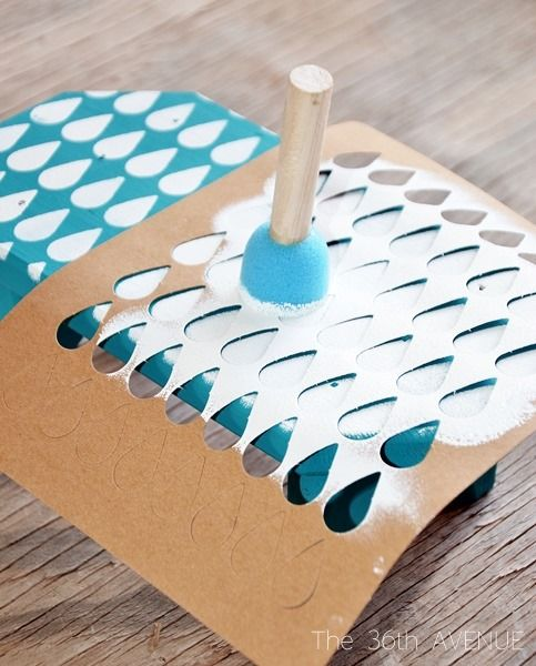 this stencil idea is awesome! much cheaper than diy stamps with rubber blocks and all the tools needed to carve them.