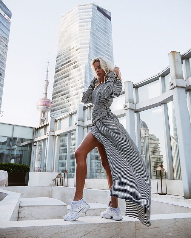 Instagram media by maffashion_official - NEW post! @magdabutrym #dress @adidasoriginals #shoes #shanghai