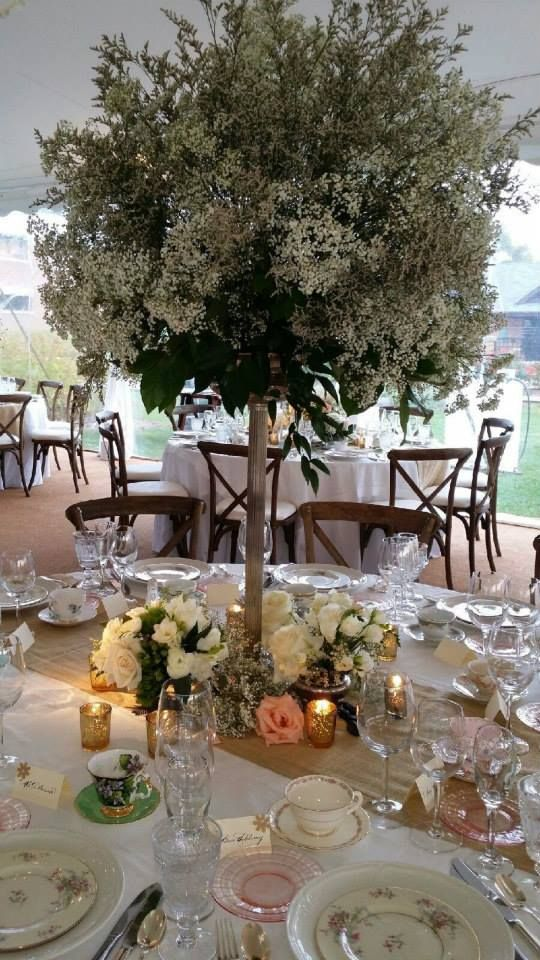 Artquest, Ltd elevated table design at Edgewood Valley Country Club in La Grange.   Check us out on Facebook and Instagram at artquestltd for more!