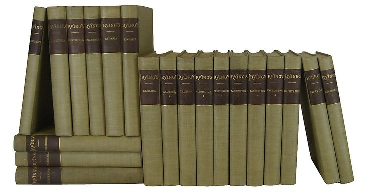 Twenty-volume library of the Works of Washington Irving, including his famous five-volume biography of George Washington.