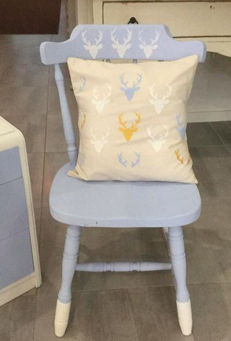 Customised chair and cushion - $40. Design one yourself - ask about my Royal Design Studio stencil collection:)