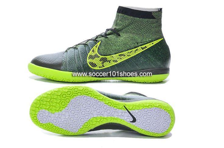 Nike Men's Elastico Superfly Indoor IC Soccer Shoes Hi Top Football Boots Grey Green $73.00