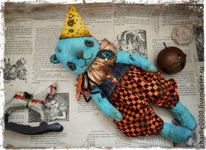 Дрёма (35 см) - бирюзовый,мишка,мишка тедди,клоун,цирк,яркий,оранжевый