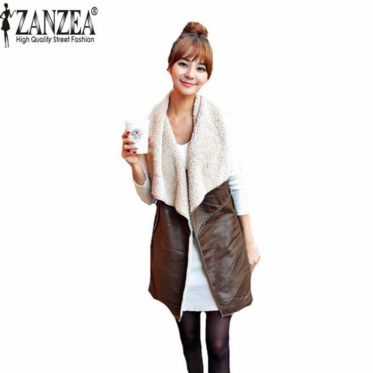 Zanzea حار بيع 2016 الشتاء النساء سيدة الترفيه أزياء الدافئة فو الفراء طوق سترة جلدية طويلة صدرية معطف البني