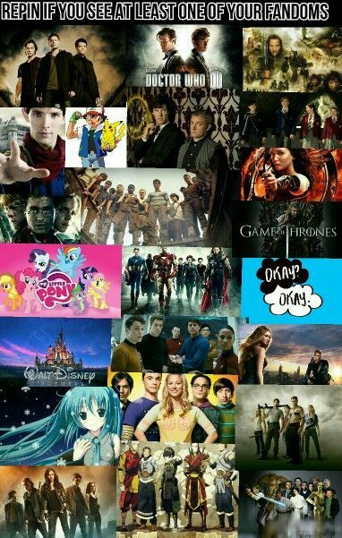I see 10! Doctor Who, Avengers, Harry Potter, Hunger Games, Disney, The Big Bang Theory, Star War, Pokemon, The Maze Runner, Divergent