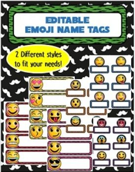 Emoji Name Tags! 2 Different Styles- Editable!!Easily type your student's names into each label. There are 2 different styles available in every color…