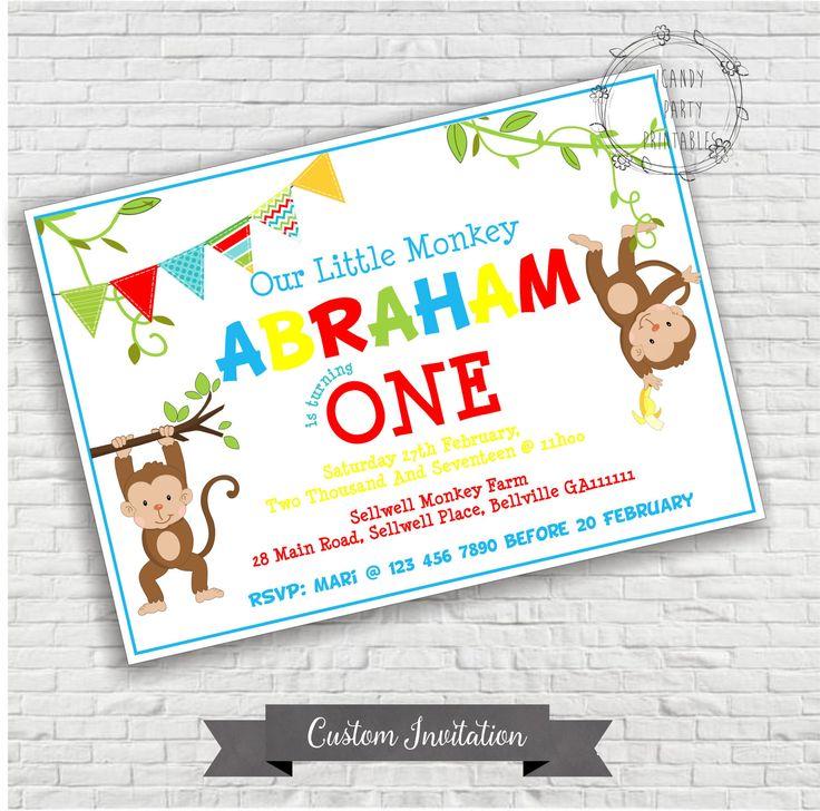 Monkey Birthday Invitation, Little Monkey Invite, Silly Monkey  invitation, Digital, Chalkboard Invitation, Printable by iCandyPartyPrintable on Etsy
