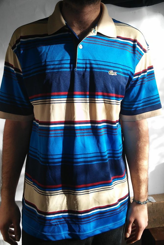 Lacoste 100% Cotton Multi-Color Striped Polo Shirt Size XL #Lacoste #PoloRugby #Polo #Shirt #eBay #Fashion