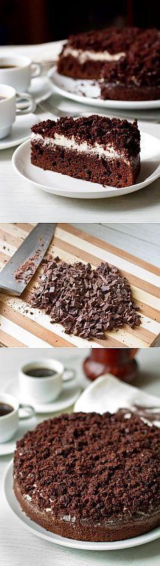 Как приготовить шоколадно-кофейный пирог со сметанным кремом - рецепт, ингридиенты и фотографии