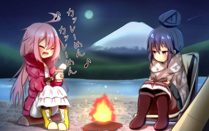 Télécharger fonds d'écran Le trou Rin, Kagamihara Nadeshiko, 4k, manga, Yura Camp