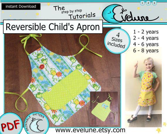 Children's reversible apron pattern / 4 sizes / PDF /
