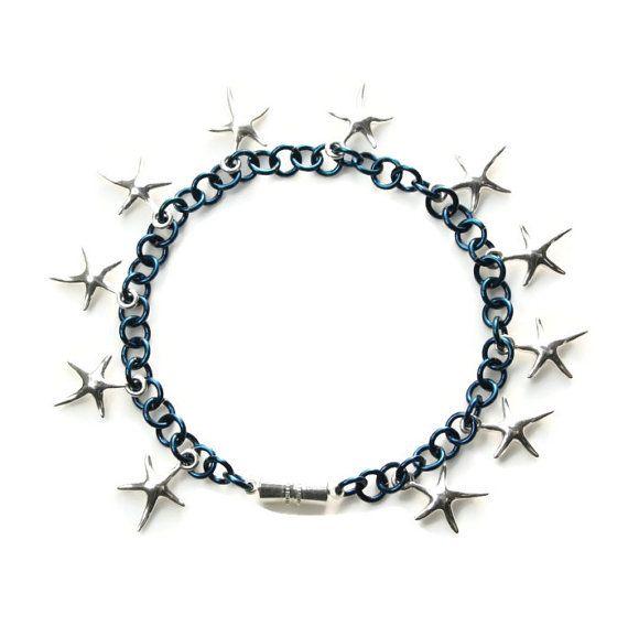 Blue Enamelled Copper Bracelet with Sterling Silver Starfish #handmade