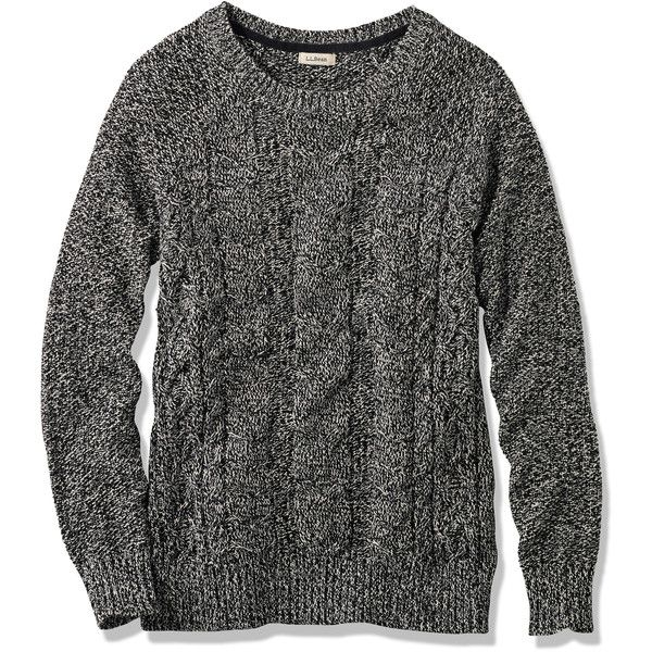 L.L.Bean Bailey Island Sweater, Marled Pullover found on Polyvore featuring tops, sweaters, marled sweater, pullover sweater, twist top, raglan sleeve top and stitch sweater