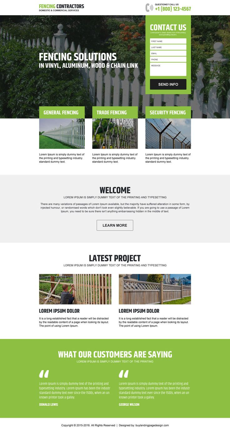 fencing-contractors-service-lead-gen-lp-1 | Fencing landing page design preview.