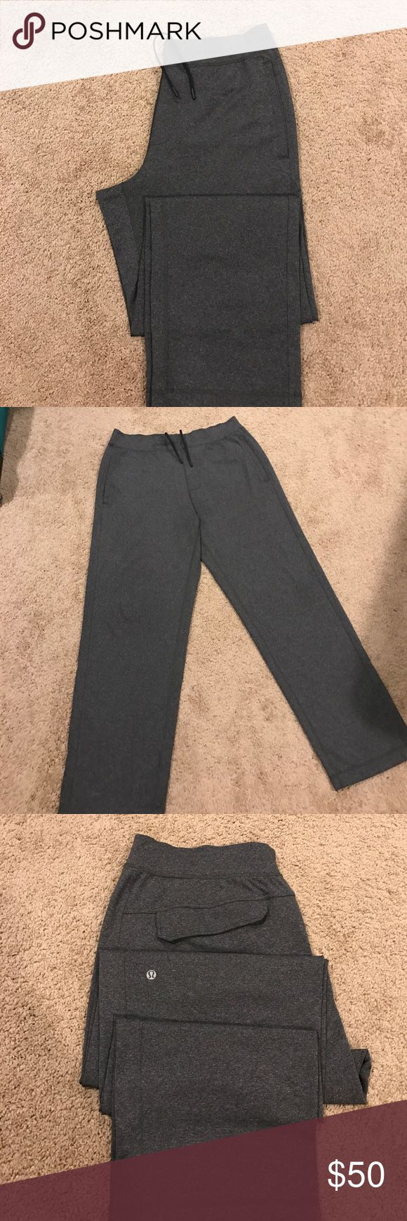 Lululemon Men's yoga Pants Lululemon Men's grey heathered yoga pants in lightweight stretch fabric.  Drawstring waist, front side pockets and back flap pockets on rear.  Near perfect.. worn a couple of times.  Smoke free home. lululemon athletica Pants Sweatpants & Joggers
