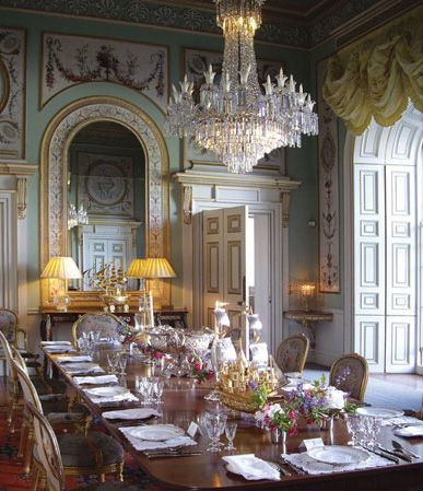 The dining room at Inveraray Castle, on the shore of Loch Fyne, Scotland. The castle has been the seat of the Duke of Argyll, chief of Clan Campbell since the 17th century.