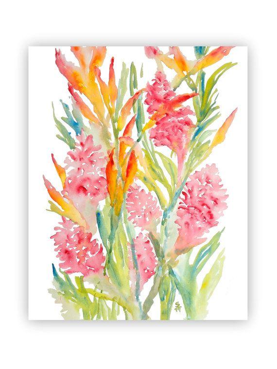 Pink Ginger & Bird of Paradise Watercolor Fine Art Print, 8x10, Watercolor Tropical