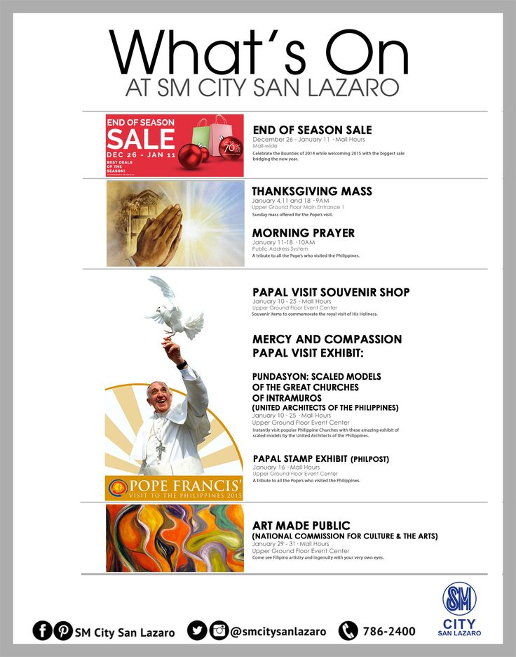 What's ON this January 2015 at SM CITY SAN LAZARO!   See you all for these upcoming events our dear fab shoppers!