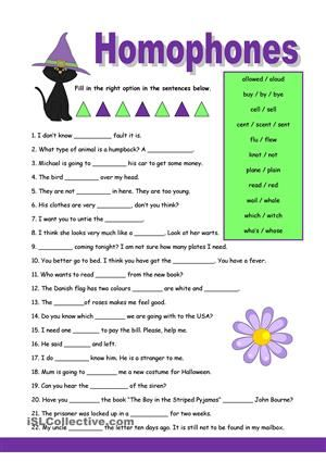 Practise some homophones by choosing the right option and write the words on the empty lines. Key included. - ESL worksheets