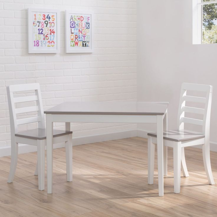 Delta Children 3-piece Grey and White Table and Chairs Set #kidsfurniture #recyclingforkids