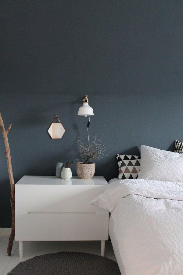 Schlafzimmer, Blau Graue Wand