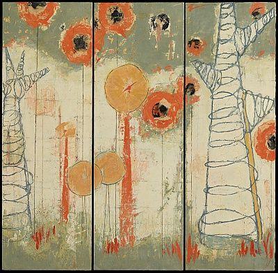 "Marilyn Jonassen,   Yellow Island, 2011, encaustic on panel, 37"" H"" x 36"" W"