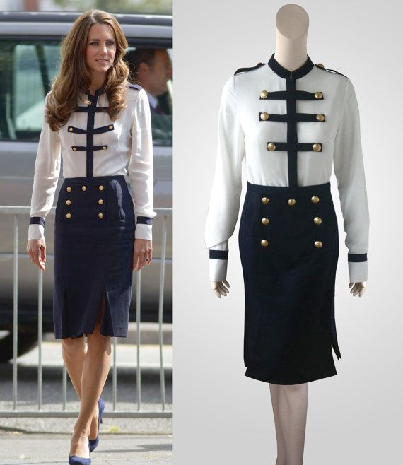 Navy and white military suit inspired by Duchess Kate Middleton $272AUD
