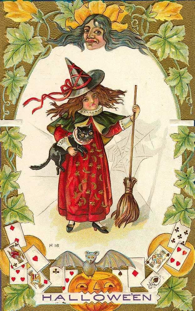 Старинные открытки ведьмы