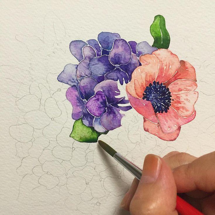 """""""그래도 할 일은 해야죠...달달 떨리지만 . . . #꽃#꽃스타그램#꽃그림#아네모네#수국#그리기#드로잉#컬러링#수채화#일러스트#셀스타그램#셀피 #leegreeem#flower#flowerdrawing…"""""""
