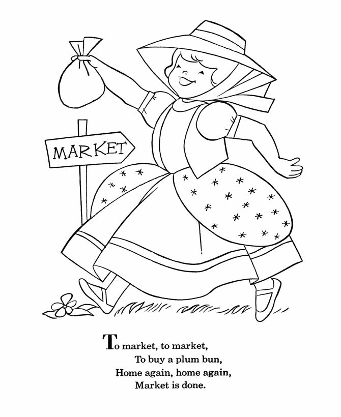 Bluebonkers Nursery Rhymes Coloring Page Sheets To