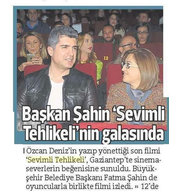 """GAZİANTEP'TE """"SEVİMLİ TEHLİKELİ"""" FİLMİNİN GALASI YAILDI / Hürriyet Çukurova (12.02.2015)"""